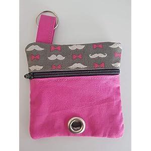 Kotbeutelspender für Hunde aus Baumwolle pink grau weiß Mustage