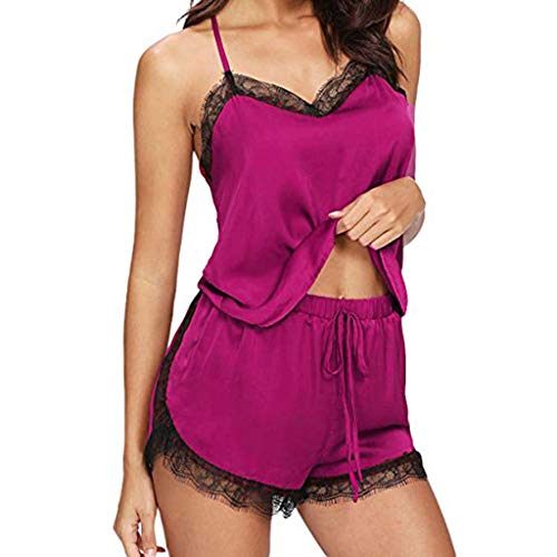 LUGOW Pyjama Sets Damen Sexy Versuchung Unterwäsche Morgenmäntel Schlafanzüge Kimono Babydoll Teddy Bademäntel Nachthemden Spitzenbesatz Satin Cami Top Schlafoveralls(Large,Pink)