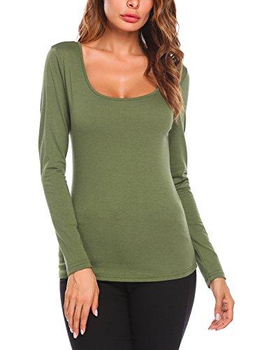 Beyove Damen T Shirt Basic Rundhals Drucken Langarmshirt Baumwolle Slim Fit Tunika Bluse Pullover Tops Casual Oberteil mit Grafik Herbst Winter (EU 36(Herstellergröße: S), D+Armeegrün)