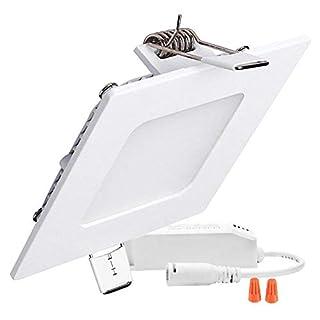 H&G LIghting 9W eckig LED Panel Leuchte, Dimmbar, 720lm, Ersatz für 60W Leuchtstoffröhre, Schnitt Loch 5.7 Inches, LED Panellampe, LED Deckenleuchte, LED Einbaustrahler mit 230V Treiber (3000K)