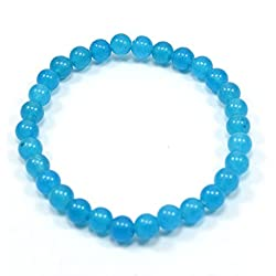 Silvestoo India Blue Quartz Gemstone Stretchable Bracelet For Women & Girls PG-105126