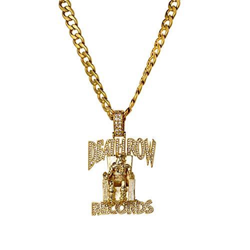 Kostüm Halskette Braut - L&H Hip-Hop-Halskette Persönlichkeit Micro-Intarsien Zirkon DEATHROW Prisoner Anhänger mit Edelstahl Twisted Chain für Freunde Hochzeitstag Geburtstagsgeschenk,Gold