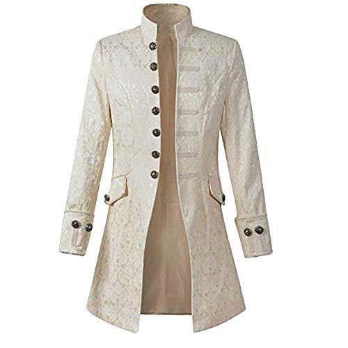 (Herren Langer Mantel Steampunk Gothic Jacke Vintage Bequeme Größen Viktorianischen Gothic Cosplay Mit Blumen Aufdruck Mantel Mäntel Coat Oberbekleidung Kleidung (Color : Weiß, Size : M))