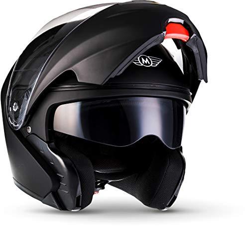 "Moto Helmets® F19 \""Matt Black\"" · Motorrad-Helm · Klapp-Helm Modular-Helm Flip-up Integral-Helm Motorrad-Helm Roller-Helm Full-Face Scooter-Helm · ECE Sonnenvisier Schnellverschluss Tasche L (59-60cm)"