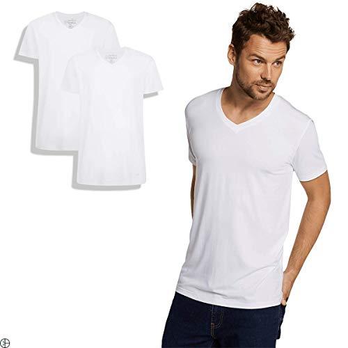 Bamboo Basics | Bambus T-Shirt | Velo | V-Ausschnitt | 2er-Pack | Extra weich und Atmungsaktiv | Farbe: Weiß | Größe: M 2er Pack Bambus