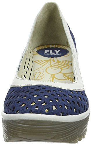 Fly London Yika733fly, Sandali con Zeppa Donna Blu (Blue/Offwhite 003)