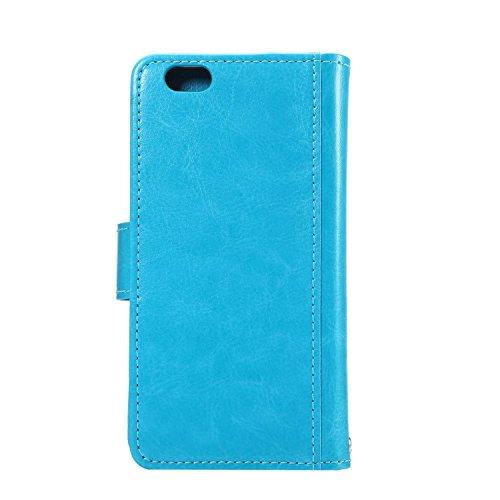 C-Super Mall-UK Apple iPhone 6 / 6s 4.7 Inch hülle,Qualität PU-Leder starke magnetische Split Mappen-Standplatz -Schlag-hülle (7-Karten-Slot) für Apple iPhone 6 / 6s 4.7 Inch(Weiß) blue