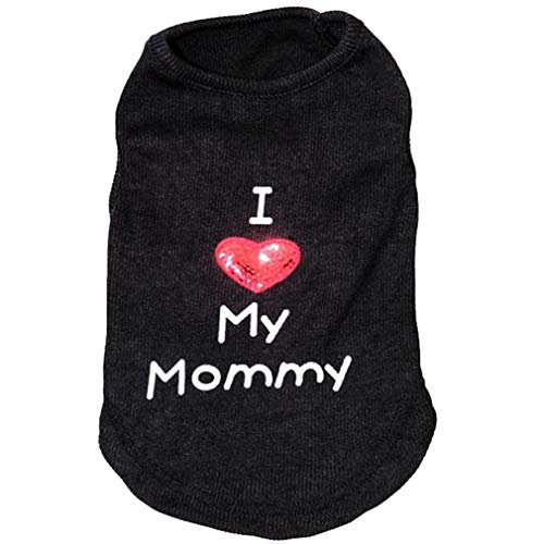 mama stadt Welpen Tshirt Gestrickte Chihuahua Teddy Dog Pet Weste Frühling und Sommer I Love My Mommy/Daddy