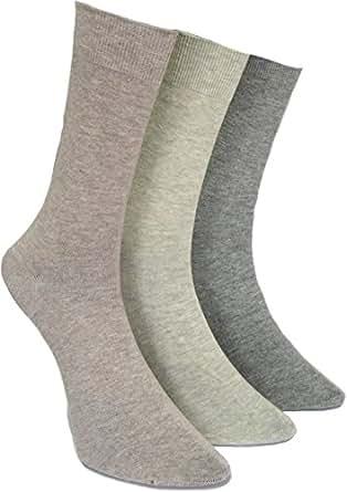 3 Paar Original normani® Socken Strümpfe Baumwolle mit Elasthan handgekettelt hell beige sortiert Farbe Herren Größe 39-42