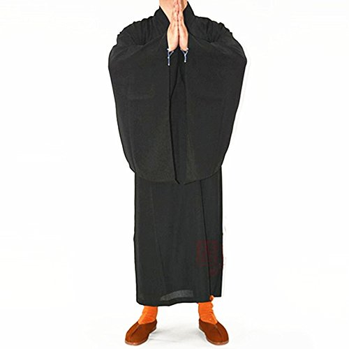 Price comparison product image Buddhist Shaolin Monk Kung fu Robe Meditation Long Gown Suit Black XXL