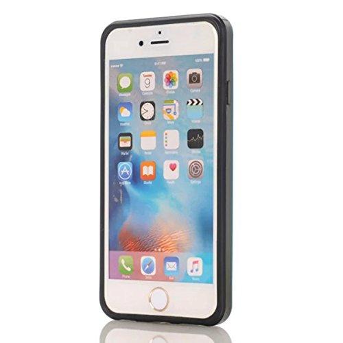 Coque Apple iPhone 6 / Apple iPhone 6s 4.7 inch, Forhouse Double Couche Coque Doux Svelte TPU Heavy Duty PC 2 in 1 Portefeuille Coque Sliding[Fente pour Carte]Antidérapant Antichoc Protection de Houss Bleu Ciel