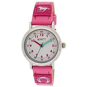 Bonett Kinder Uhr Mädchen Armbanduhr Pferd Pony Leder Armband Kinderuhr 1458P