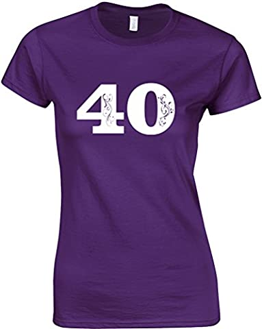 Womens 40th Birthday, Mesdames T-shirt Imprimé - Pourpre/Blanc 2XL = 98-102cm