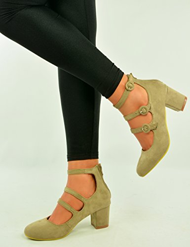 Cucu Fashion Marke New Damen Mary Jane Pumpen Damen Dreifach Trägern Low Mid Blockabsatz Faux Wildleder Casual Schuhe Größe UK 345678 Beige