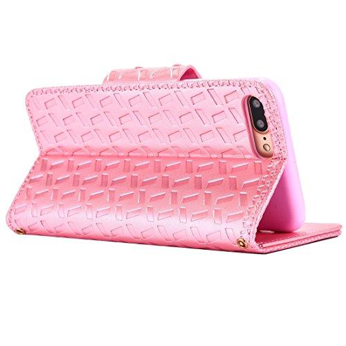 Hülle für iPhone 7 plus , Schutzhülle Für iPhone 7 Plus Bowknot Prägung Horizontale Flip Leder Tasche mit Halter & Card Slots & Wallet ,hülle für iPhone 7 plus , case for iphone 7 plus ( Color : Magen Pink