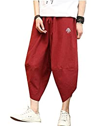 Pantalones De Lino Cómodos Sueltos Pantalones Capri De Ropa Pantalones  Pierna Ancha De Ocio Pantalones De Hippie Pantalones De Harén con… 6618701309c