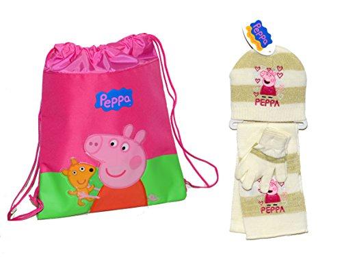 Peppa Pig zainetto vela + set Cappello, sciarpa e guanti novità