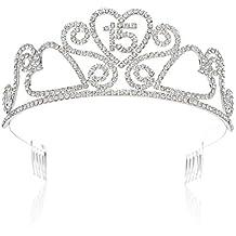 SWEETV Espumoso Quinceanera Aniversario Cumpleaños Tiara Diadema Rhinestone Fiesta Corona, 15 Quince
