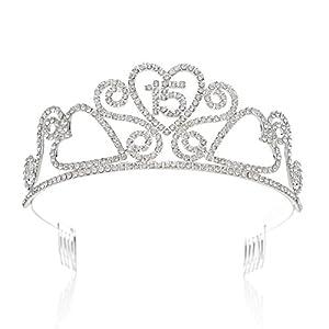 SWEETV Funkelnd Kristalle Geburtstagsfeier Krone Tiara Prinzessin Diadem Kopfschmuck mit Haarkämme