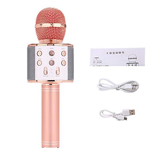 Professionelles Funkmikrofon Hohe Empfindlichkeit Home KTV Musik spielen Oneline Chat Karaoke-Mikrofon für IOS (Rotgold)