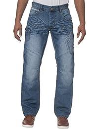 ENZO Hommes Classique Jambe Droite Coupe standard délavé foncé délavé jeans jeans