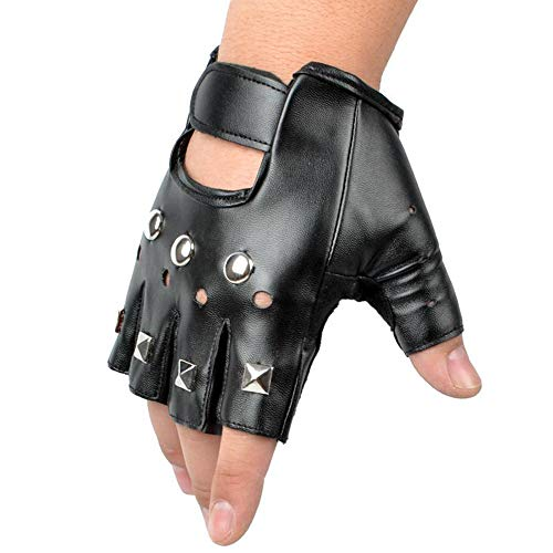 Ogquaton Retro Studded Fingerless Guante Cuero Stud
