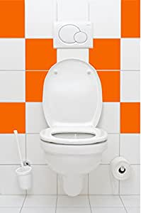 16 pièces Matt orange pastel stickers carrelage 15x15cm