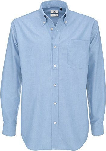 B&c shirt, camicia casual uomo, blue (oxford blue), 56