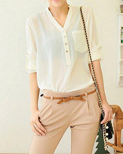 Femme Couleur Pure Manche Longue Bouton Blouse V-Collier Classique Chemise Blanc