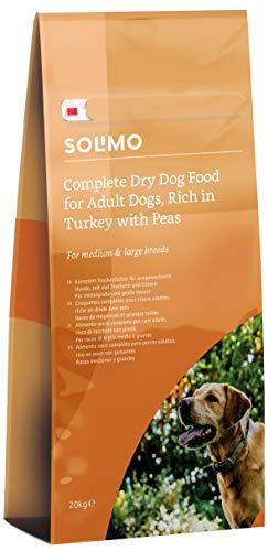 Marchio Amazon - Solimo - Alimento secco completo per cani adulti ricco di tacchino con piselli, 1  confezione da  20 kg