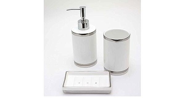 Seifenspender DIAMANT weiß aus Porzellan bauchige Form Bad moderner Landhausstil