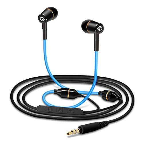 Tuisy Aggiornato Auricolari Anti-Radiazioni - Brevetto Air Tube, Protezione EMF Cuffie In-Ear Stereo con Vivavoce Headset con Microfono, In linea & Telecomando, Compatibile con Apple iPhone (Blu)