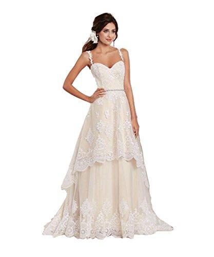 Tianshikeer Hochzeitskleid Champagner Spitze Lang Kurz Brautkleid Zweiteilig 2 Teilig Glitzer