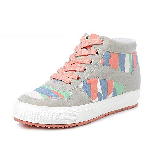 ALUK- Primavera e autunno coreano Versione Del Calzatura Strada tela di alta per aiutare le scarpe casual ( colore : Gray , dimensioni : 35 )