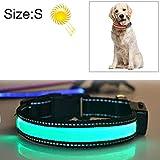 KANEED Hundehalsbänder, Geschirre, Mittlerer und großer Hund Haustier Solar + USB-Lade-LED-Lichtkragen, Halsumfang Größe: S, 35-40 cm (Orange) (Farbe : Green)