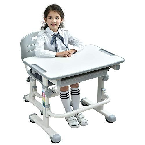 BEST DESK Grows As You Grow Ergonomische Kinder Tisch Stuhl Kippen Schreibtisch Oben Höhenverstellbare Kinder Schreibtisch Stuhl-Set mit Ausziehbare Fach FREI Tier Sitzkissen - Mini (Grau) (Stuhl Schreibtisch Flauschige)