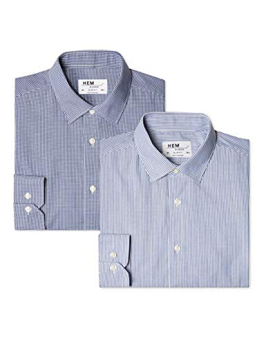 Hem & Seam Herren Formales gestreiftes Slim Fit-Hemd, 2er Pack, Blau (Bengal Blue / Gingham Navy), 46 (Herstellergröße: 14.5) (Slim Fit Hemd Gingham)