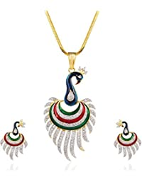 Bling N Beads 18K Gold Plated Chain Peacock Mayur Pendant Set With Earrings Perfect Diwali Gift For Her