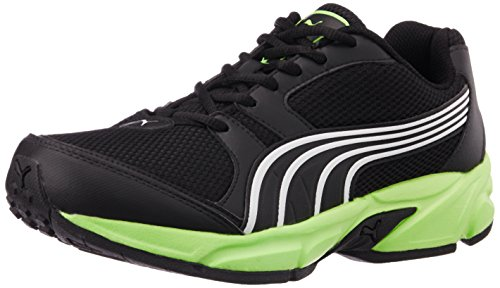 13. Puma Men's StrikeFashionIIDP Black, Green Gecko and White Running Shoes