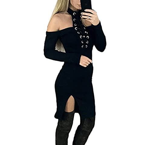 Fanmay Women Dresses Sexy Long Sleeves Off Shoulder Bandage Split The Fork Party Cocktail Dress Beach Evening Shirts (S, Black)