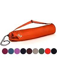 Bolsa de yoga »Devala« hecha con algodón de gran calidad, con un laborioso acabado / Para esterillas de yoga de hasta 180 x 62 x 0,6 cm / rojo anaranjado