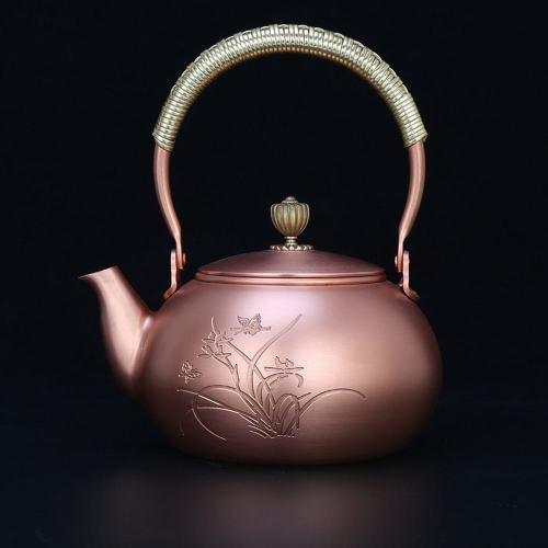 ZH Benutzerdefinierte handgefertigte Kupfer Kupfer Topf Tee Gesundheit gekocht Wasser tragbare Topf Tee Geschenk Bronze lila Teekanne