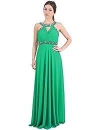 Sunshine - Longue robe bustier en cache coeur ornée de pierres et de brillants fantaisie - Femme