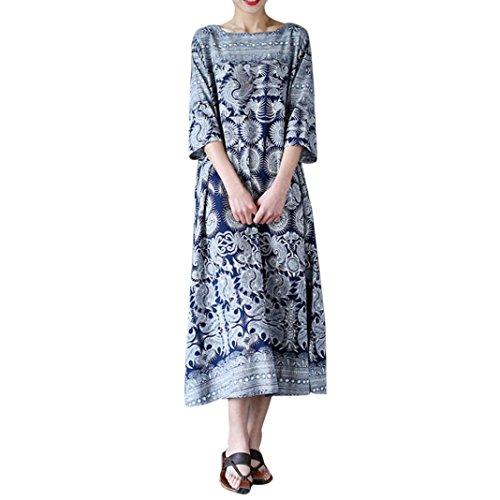 DOLDOA ☀『großer Größen Frauen Bekleidung』☀ Frauen Blumendruck Crewneck Casual Loose Langes Maxi Kleid (EU:50 Fehlschlag: 115cm / 45.3