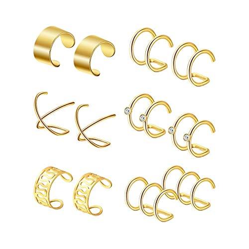 Pinhan 6 Paare Ohr Manschette Set Ohr Clips Nicht Piercing Ohrringe Knorpel Hoop Schmuck Zubehör für Frauen Mädchen Liefert, Gold