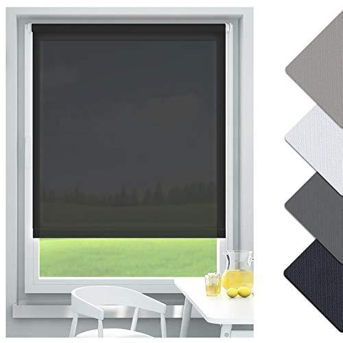 Oubo–Estor enrollable sin agujeros DKL ventanas, negro, 70 x 170 cm (BxH)