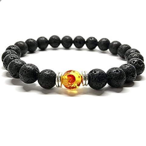 GOOD.designs Chakra-bracelet de perles d'énergie, Chakra-pendentif, Pierre de protection Lave - Perle de