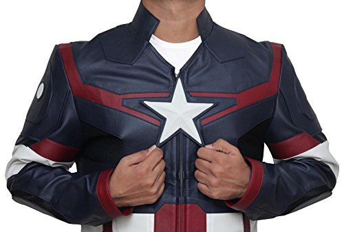 Captain America 3 Civil War Steve Rogers Blue Leather Jacket - Captain America 3 Civil War Steve Rogers Veste en cuir bleu Bleu