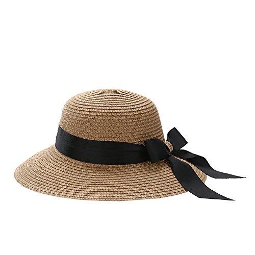 La Cabina Chapeaux Femme Melon en Dentelle - Chapeau Femme été Plage-Chapeau Pliable Anti-soleil -Multicolore Taille Unique Kaki