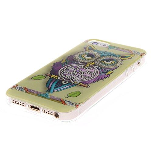 iPhone SE Hülle Silikon,iPhone SE Hülle Transparent,iPhone SE Hülle Glitzer,iPhone 5S Clear TPU Case Hülle Klare Ultradünne Silikon Gel Schutzhülle Durchsichtig Rückschale Etui für iPhone 5,iPhone 5S  Owl 1